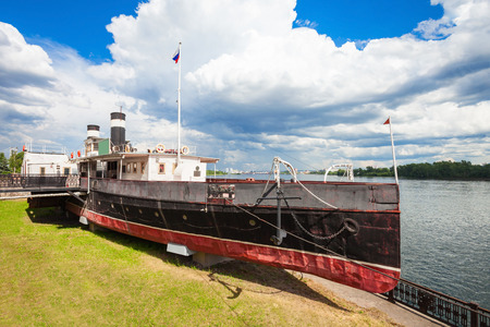 Prelate Nikolay Steamship Museum is a ship museum located on the eternal docked in the city of Krasnoyarsk in Russia Editorial
