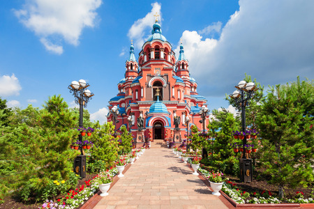 Cathedral of the Kazan Icon of the Mother of God in the city center of Irkutsk, Russia