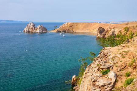 shamanism: Shamanka (Shamans Rock) on Baikal lake near Khuzhir at Olkhon island in Siberia, Russia. Lake Baikal is the largest freshwater lake in the world.