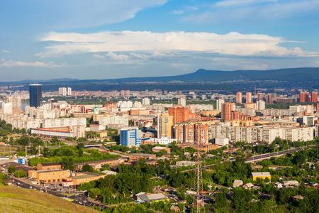 Krasnoyarsk city aerial panoramic view from Karaulnaya Mountain viewpoint in Krasnoyarsk, Russia