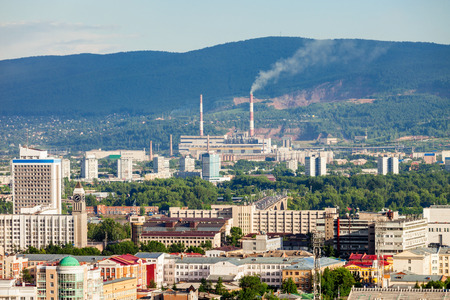 top veiw: Krasnoyarsk city aerial panoramic view from Karaulnaya Mountain viewpoint in Krasnoyarsk, Russia