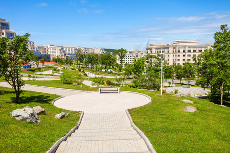 Far Eastern Federal University (Dalnevostochny Federalny Universitet or DVFU) campus buildings. It is an institution of higher education in Vladivostok, Russia.
