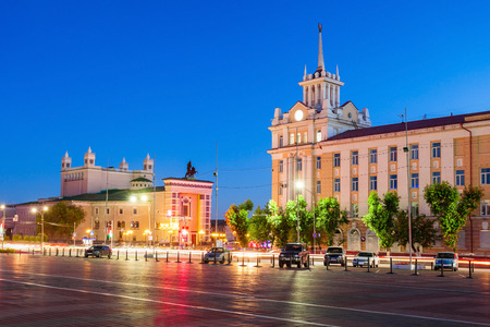 Buryat State Academic Opera and Ballet Theater and Dom Radio (Radio House) in Ulan-Ude, the Republic of Buryatia, Russia