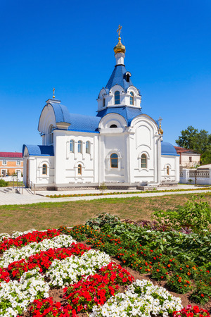 Odigitrievsky Cathedral (Cathedral of Our Lady of Smolensk) is a Russian Orthodox cathedral in the old downtown of Ulan Ude, Russia Stock Photo