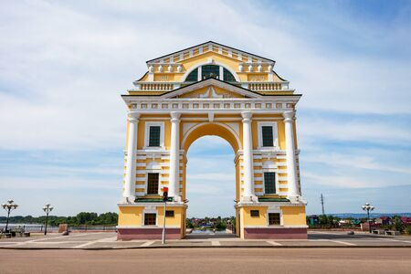 Triumphal Arch Moscow Gates is located on Angara river embarkment in the center of Irkutsk city, Russia Editorial