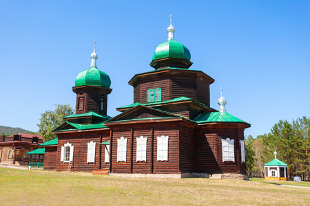 Church of St. Nicholas is old believer church an exhibit of the Ethnographic Museum of transbaikalia people in Ulan-Ude Stock Photo