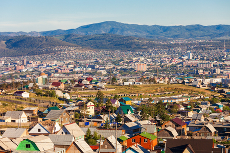 Ulan-Ude aerial panoramic view. Ulan-Ude is the capital city of the Republic of Buryatia, Russia
