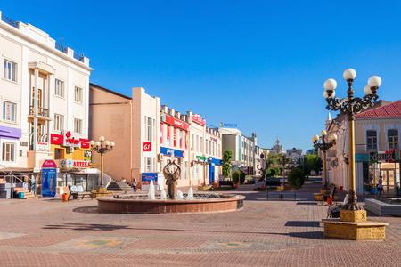 buryatia: ULAN-UDE, RUSSIA - JULY 14, 2016: Ulitsa Lenina is a pedestrian arbat street in the center of Ulan-Ude city, Republic of Buryatia, Russia. Editorial