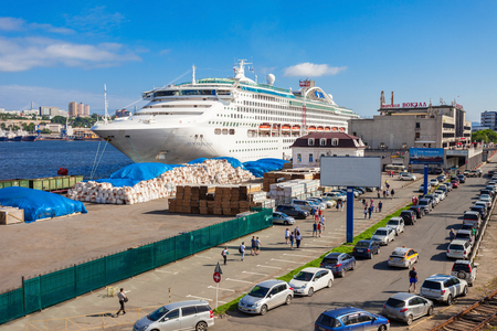commerce and industry: VLADIVOSTOK, RUSSIA - JULY 17, 2016: Sun Princess cruise ship at the passenger sea port in the center of Vladivostok city, Primorsky Krai in Russia.