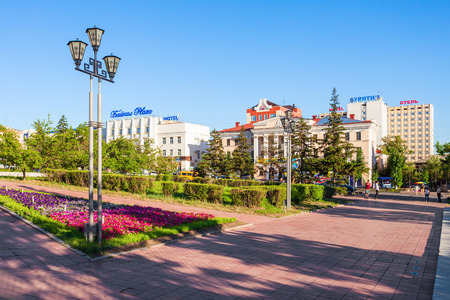 ULAN-UDE, RUSSIA - JULY 14, 2016: Ulan-Ude city centre. Ulan-Ude is the capital city of the Republic of Buryatia, Russia
