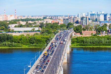 NIZHNY NOVGOROD, RUSSIA - JUNE 29, 2016: Kanavinsky bridge in Nizhny Novgorod. Nizhny Novgorod is the fifth largest city in Russia.