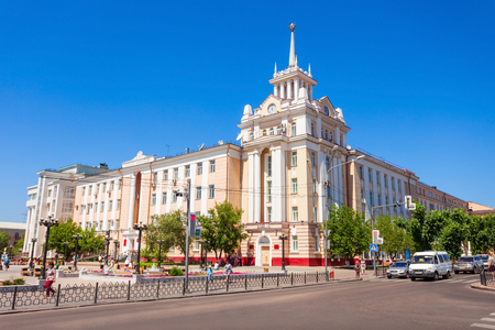 ULAN-UDE, RUSSIA - JULY 15, 2016: Dom Radio house in Ulan-Ude, Republic of Buryatia in Russia