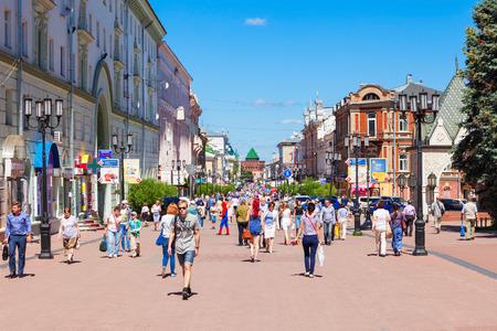 NIZHNY NOVGOROD, RUSSIA - JUNE 29, 2016: Bolshaya Pokrovskaya is a pedestrian street in the center of Nizhny Novgorod, Russia