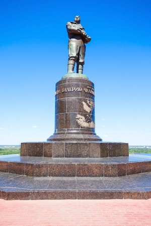 NIZHNY NOVGOROD, RUSSIA - JUNE 29, 2016: Valery Chkalov Monument in Nizhny Novgorod city in Russia. Valery Chkalov was a test pilot and Hero of the Soviet Union.