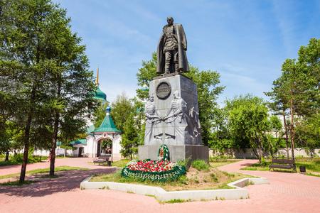 IRKUTSK, RUSSIA - JULY 07, 2016: The Kolchak Monument dedicated to Alexander Kolchak in Irkutsk city, Russia. Kolchak was a polar explorer and commander in the Imperial Russian Navy. Editorial