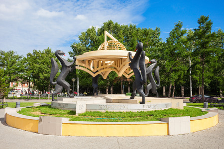 NOVOSIBIRSK, RUSSIA - JULY 04, 2016: Sculpture Siberian Spaces (Sables Monument) in the center of Novosibirsk city, Siberia in Russia. Editorial