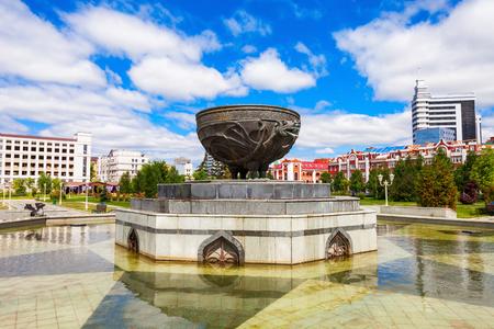 beauty fountain: KAZAN, RUSSIA - JUNE 30, 2016: Fountain Monument in the Millennium Park of Kazan. It is located in the centre of Kazan, the capital of the Republic of Tatarstan in Russia.