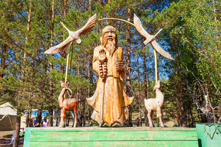 ULAN-UDE, RUSSIA - JULY 15, 2016: Shaman monument at the Ethnographic Museum of transbaikalia people in Ulan-Ude.