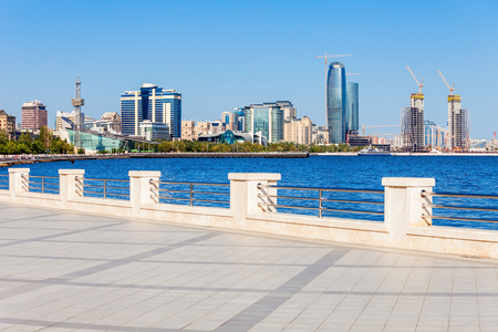 Baku boulevard at the Caspian Sea embankment. Baku is the capital and largest city of Azerbaijan.