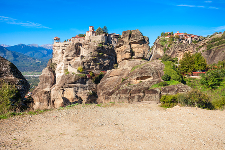 The Monastery of Varlaam and the Monastery of Great Meteoron at the Meteora. Meteora is one of the largest and most precipitously built complexes of Eastern Orthodox monasteries in Greece.