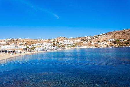 Ornos beach on the Mykonos island, Cyclades in Greece