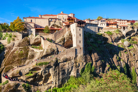 The Monastery of Great Meteoron is the largest monastery at Meteora. Meteora is one of the most precipitously built complexes of Eastern Orthodox monasteries in Greece. Stock Photo