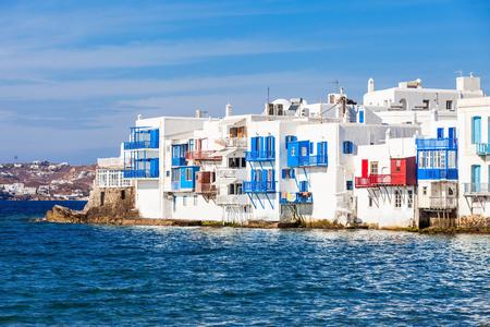 myconos: Little Venice neighbourhood in the town of Chora, Mykonos island in Greece Stock Photo