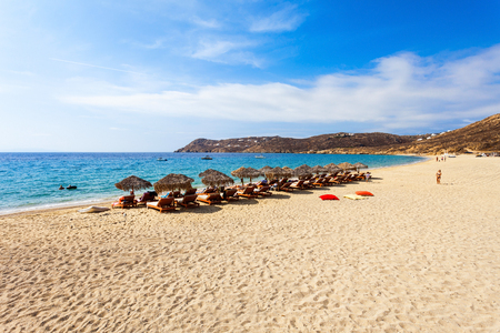 Elia Beach with yellow sand on the Mykonos island, Cyclades in Greece