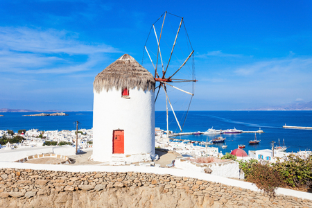 Boni or Bonis Windmill at the Folklore Agricultural Museum in Mykonos Town, Island of Mykonos, Cyclades Islands in Greece.