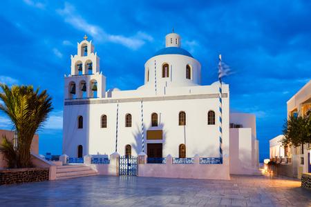 Oia Church or Ekklisia Panagia Platsani is a greek orthodox church in Oia, Santorini island in Greece