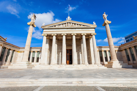 trilogy: The main building of the Academy of Athens, one of Theophil Hansens Trilogy in central Athens, Greece