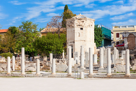 The Roman Agora at Athens is located to the north of the Acropolis and to the east of the Ancient Agora. Stock Photo