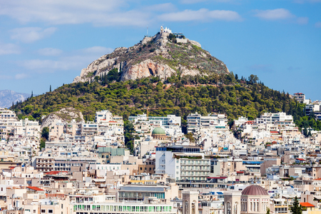 cretaceous: Mount Lycabettus, also known as Lykabettos, Lycabettos or Lykavittos. It is a Cretaceous limestone hill in Athens, Greece. Stock Photo