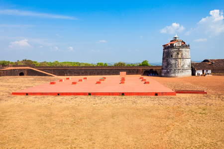 aguada: Fort Aguada and its lighthouse is a portuguese fort standing on Sinquerim Beach in Goa, India