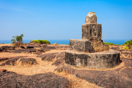 aguada: Monument inside the Chapora Fort. Fort is located in north Goa, rises high above the Chapora River, India.