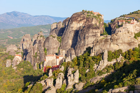 The Monastery of Rousanou or St. Barbara Monastery and the Monastery of St. Nicholas at Meteora. Meteora is one of the largest built complexes of Eastern Orthodox monasteries in Greece.