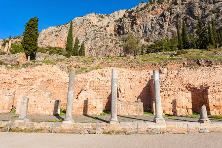 consulted: Ruined columns at the Spartan colonnade in Delphi. Delphi is ancient sanctuary that grew rich as seat of oracle that was consulted on important decisions throughout the ancient classical world.