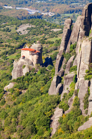 The Monastery of St. Nicholas Anapausas at Meteora. Meteora is one of the largest built complexes of Eastern Orthodox monasteries in Greece. Stock Photo