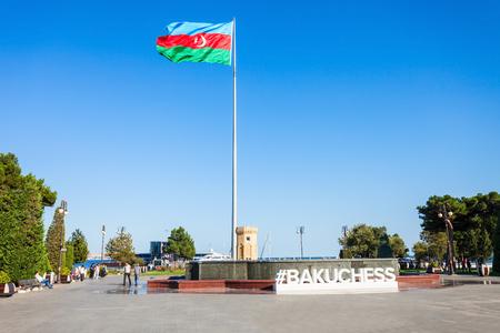 BAKU, AZERBAIJAN - SEPTEMBER 13, 2016: Baku boulevard at the Caspian Sea embankment. Baku is the capital and largest city of Azerbaijan.
