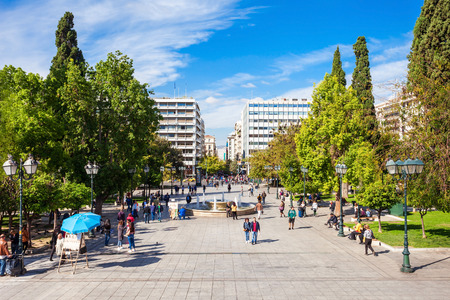 ATHENS, GREECE - OCTOBER 19, 2016: Syntagma Square or Constitution Square is central square of Athens. Square named after Constitution that first King of Greece Otto was obliged to grant.