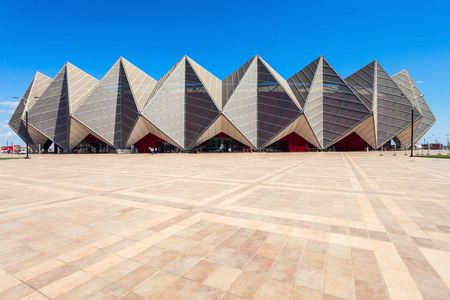 BAKU, AZERBAIJAN - SEPTEMBER 13, 2016: Baku Crystal Hall is an indoor arena in Baku, Azerbaijan. Built on the coast of Baku to host the 2012 Eurovision Song Contest.