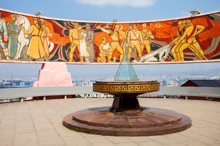 ULAANBAATAR, MONGOLIA - JULY 12, 2016: The Zaisan Memorial is a memorial in the Mongolian capital of Ulaanbaatar that honors Soviet soldiers killed in World War II. Editorial