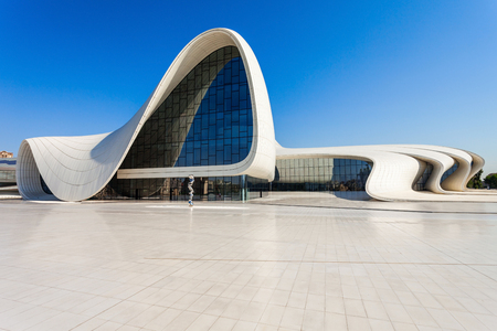 BAKU, AZERBAIJAN - SEPTEMBER 14, 2016: The Heydar Aliyev Center is a building complex in Baku, Azerbaijan designed by Zaha Hadid. The center is named for Heydar Aliyev, the leader of Azerbaijan. Редакционное