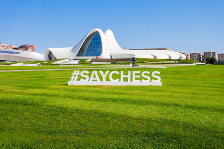 azeri: BAKU, AZERBAIJAN - SEPTEMBER 14, 2016: The Heydar Aliyev Center is a building complex in Baku, Azerbaijan designed by Zaha Hadid. The center is named for Heydar Aliyev, the leader of Azerbaijan. Stock Photo