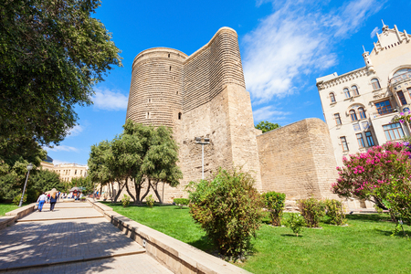 azeri: The Maiden Tower also known as Giz Galasi, located in the Old City in Baku, Azerbaijan. Maiden Tower was built in the 12th century as part of the walled city. Stock Photo