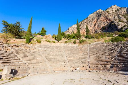 delphi: The ancient theatre at Delphi. Delphi was an important ancient Greek religious sanctuary sacred to the god Apollo.