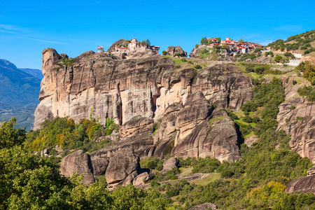 The Monastery of Great Meteoron and the Monastery of Varlaam at the Meteora. Meteora is one of the largest and most precipitously built complexes of Eastern Orthodox monasteries in Greece.