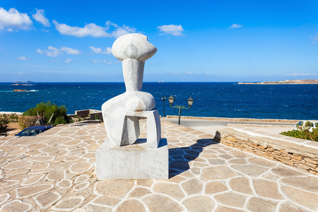 Traditional idol figurine sculpture in Parikia town, on the island of Paros in Greece
