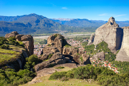 kalabaka: Meteora rocks and Kalabaka or Kalambaka and Kalampaka. It is a town and amunicipality in the Trikala region in Greece.