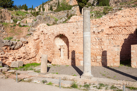 grew: Ruined columns at the Spartan colonnade in Delphi. Delphi is ancient sanctuary that grew rich as seat of oracle that was consulted on important decisions throughout the ancient classical world.